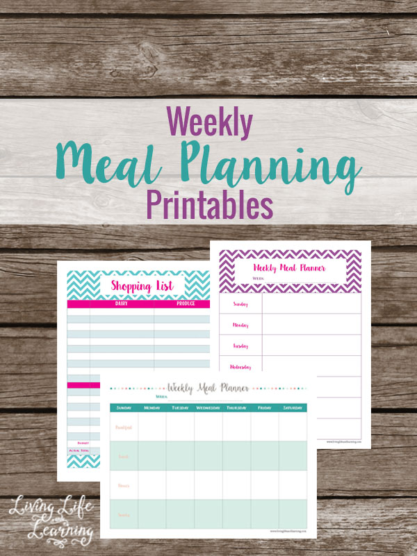 Create a budget and don't worry about what you'll be eating for dinner with these weekly meal planning printables