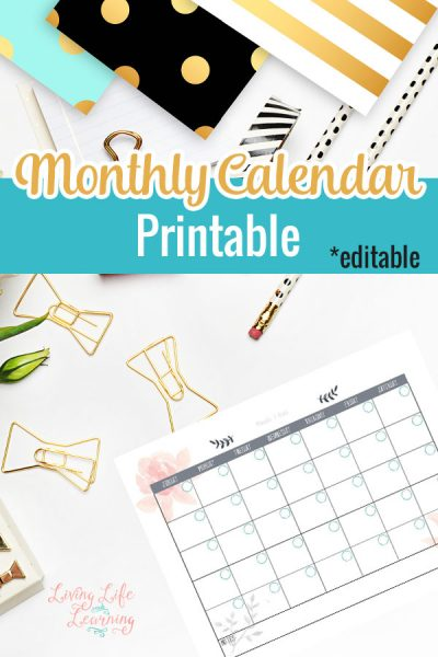 Get organized with this editable monthly calendar printable and never miss an appointment again, plan your month so you don't miss the important stuff.