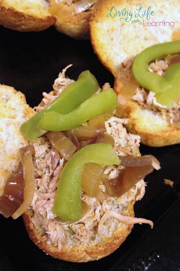 Slow Cooker Pulled Chicken Cheesesteaks the whole family will love
