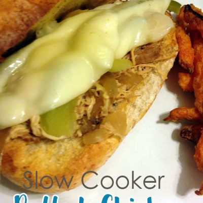 """Slow Cooker Pulled Chicken """"Cheesesteaks"""" Recipe"""