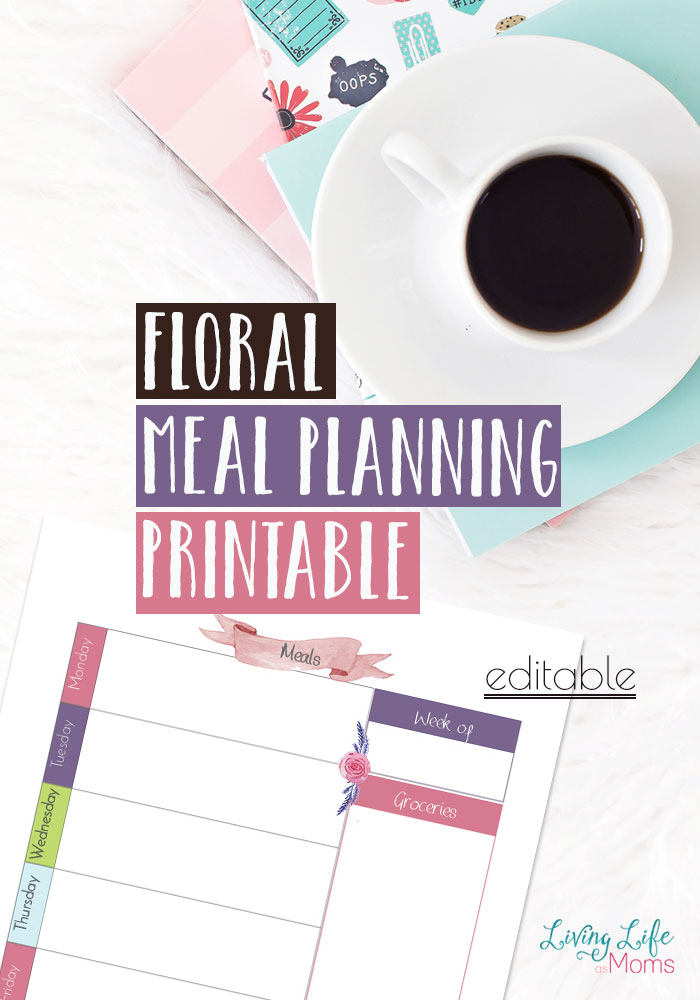 Use these  floral meal planning printables this week. Do you have to run out to the store multiple times during the week? Make a plan and stick to it, your budget will thank you.