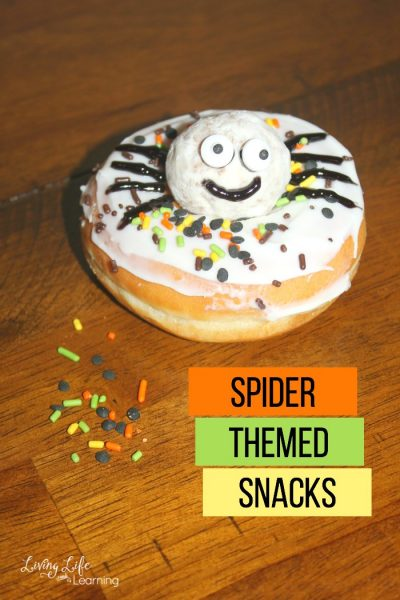 Need some ideas for spider themed snacks? Your kids will love these spider doughnuts, they're adorably cute and tasty - a must-try snack for kids.