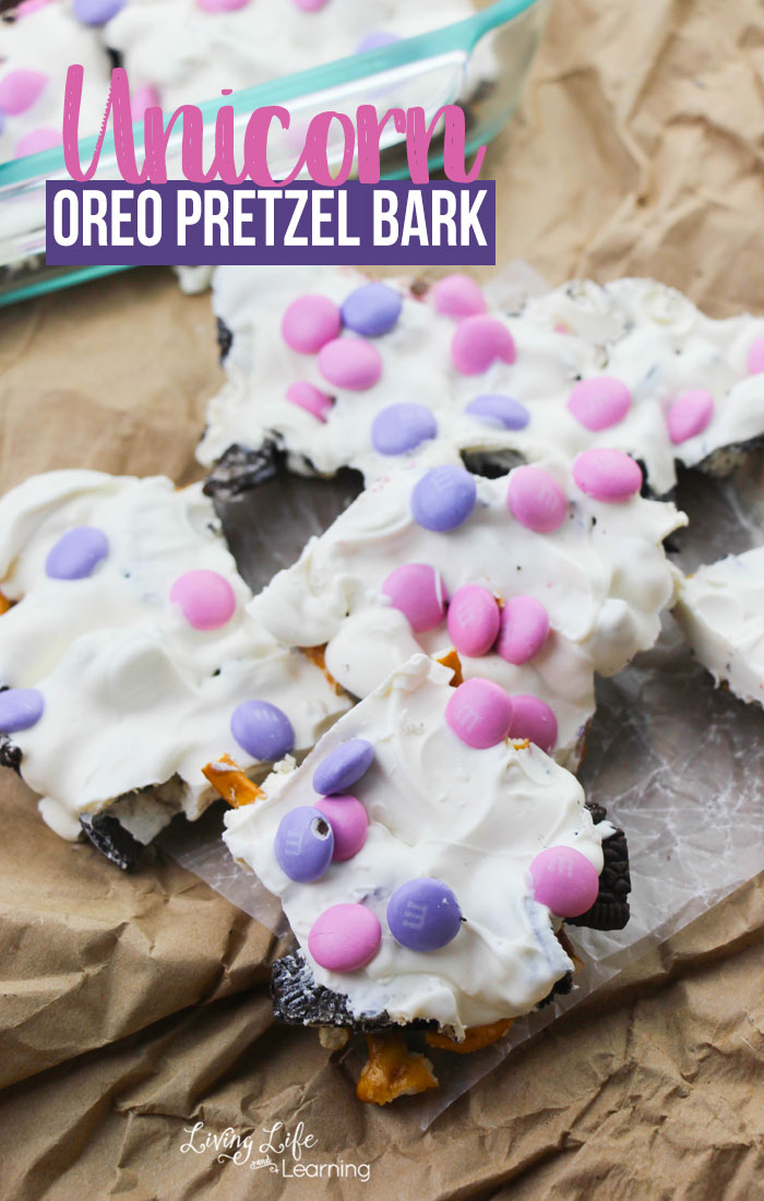 Unicorn Oreo Pretzel Bark: Whether you are in charge of snack, special event or just craving something magical, this no-bake recipe is for you!