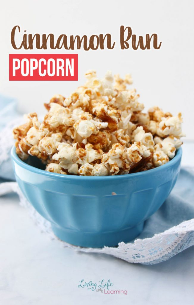 A super simple Cinnamon Popcorn Recipe that is delightfully delicious. This is a perfect treat for a friend to snack on with your favorite movie!