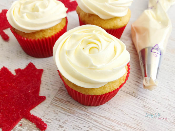 simple Canada cupcake with icing