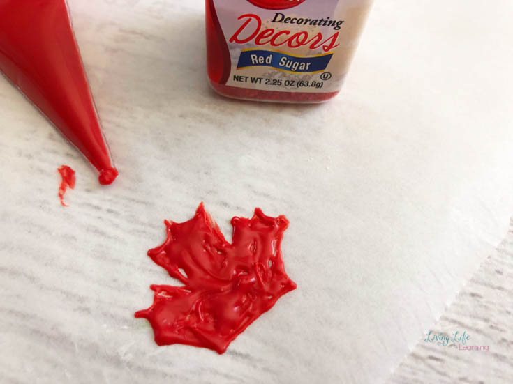 Canada maple leaf in melted candy