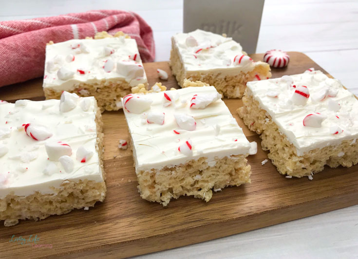 White Chocolate Peppermint Rice Krispie Bars