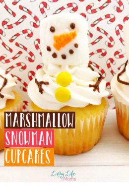 Cute Marshmallow Snowman Cupcakes