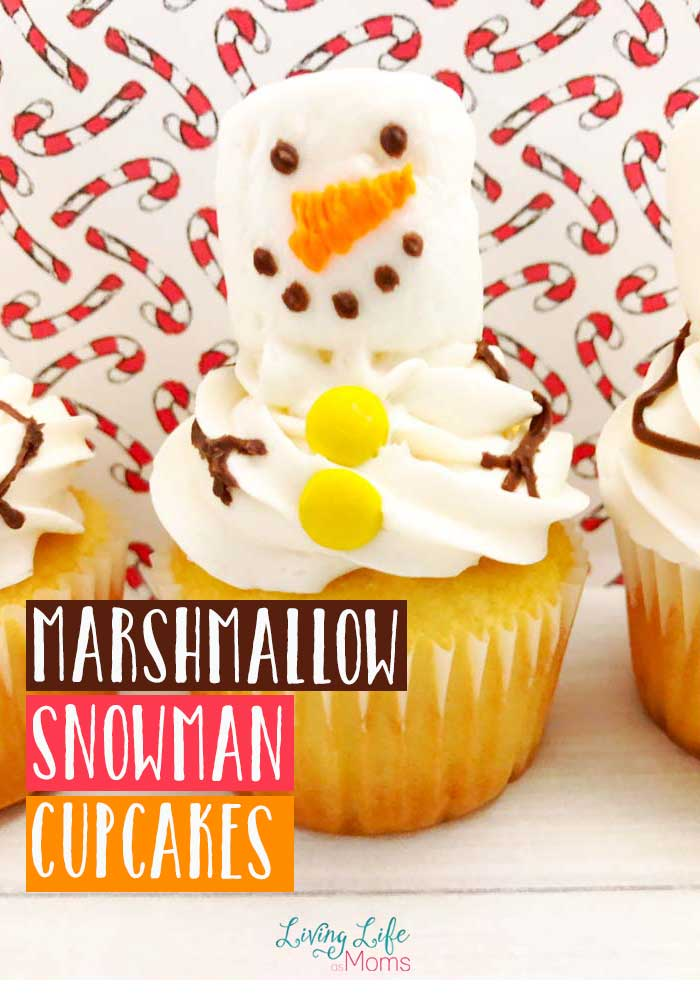 Looking for a fun and unique holiday treat? These cute marshmallow snowman cupcakes are easy and delicious! Homemade cupcakes are the best! #cupcakes #snowmen #Christmas #homemade