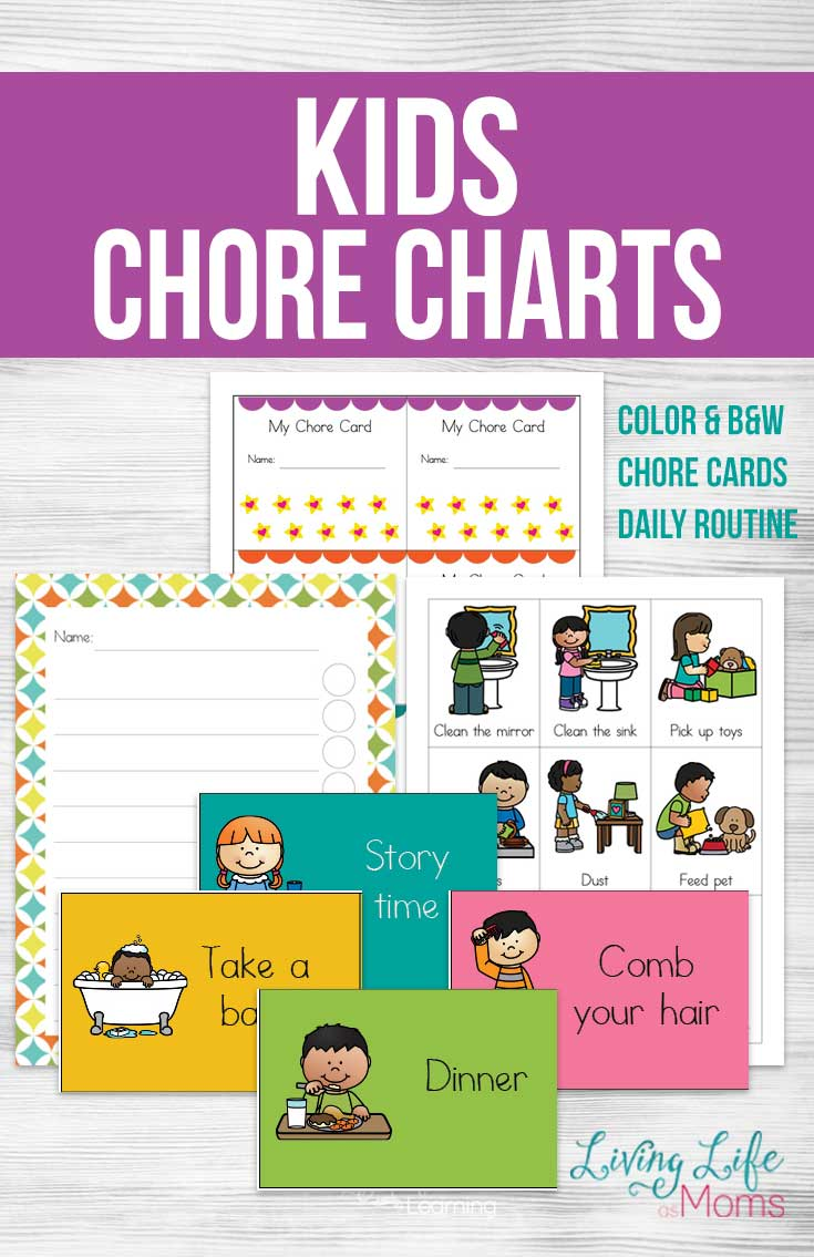Printable kids chore charts and chore cards