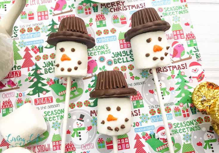Snowman Marshmallow Pop