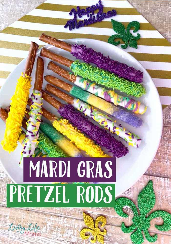 Mardi Gras Dipped Pretzel Rods