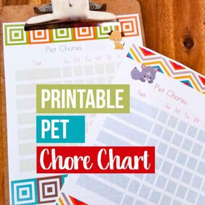 Printable Pet Chores Chart