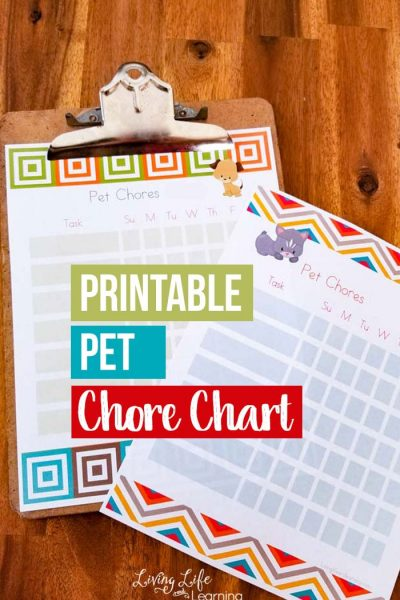 Perfect way to teach kids to take care of the dog or cat. Teach your kids responsibility with their pets and use this printable pet chores chart to have them keep track of what they've completed for each day.
