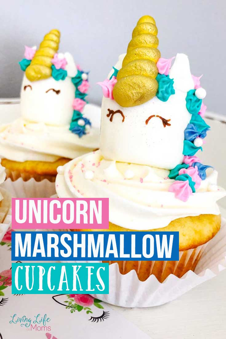 These unicorn marshmallow cupcakes are simple and easy to do! All you need to do is be creative and have fun decorating and these unicorn treats will be ready in no time at all! #unicorn #cupcake #cupcakedecorating #DIY #unicornhorn #birthday
