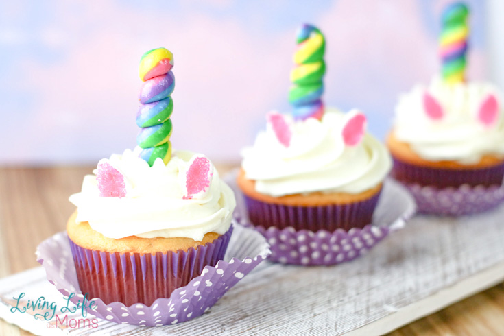 3 simple unicorn cupcakes on a plate