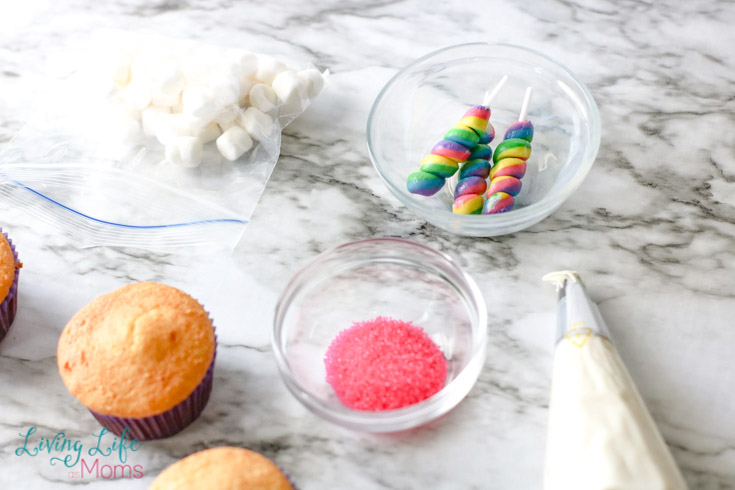 ingredients for simple unicorn cupcakes