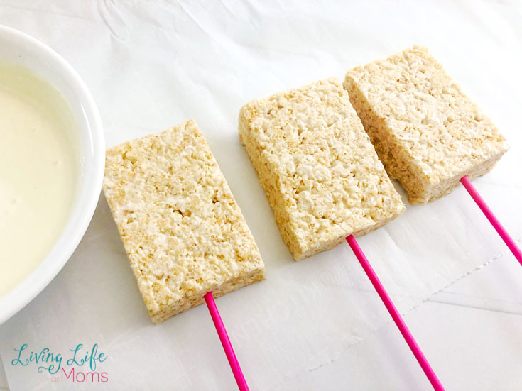 rice krispies on pink sticks