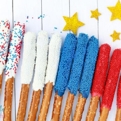Red White and Blue Dipped Pretzel Rods