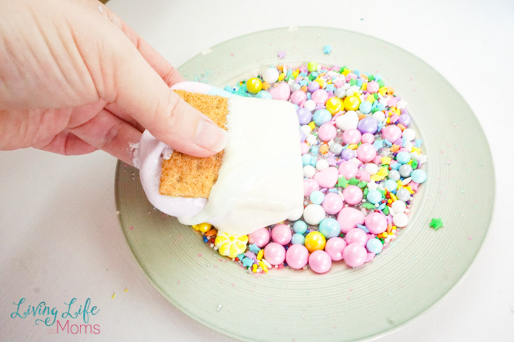 creating the s'mores using sprinkles