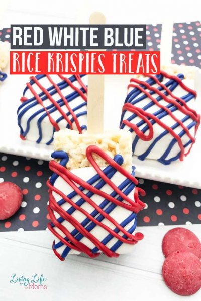 These Red White and Blue Rice Krispies Treats are so simple and easy to make. And with the summer months right around the corner, they're perfect! All you need are a few ingredients and they are ready in no time at all! #ricekrispiestreats #redwhiteandblue #dessert #patrioticfood #kidfriendly
