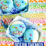 These Ocean Themed Dipped Oreos are so simple and easy to make. No baking required. Just fun decorating and snacking once done! #oreos #dessert #ocean