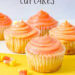 The taste and flavor of these candy corn cupcakes are seriously out of this world. Welcome in the fall season with these delicious treats. They are a simple homemade cupcake that packs on a ton of great taste and flavor! #candycorn #fallcupcakes #homemadecupcakes