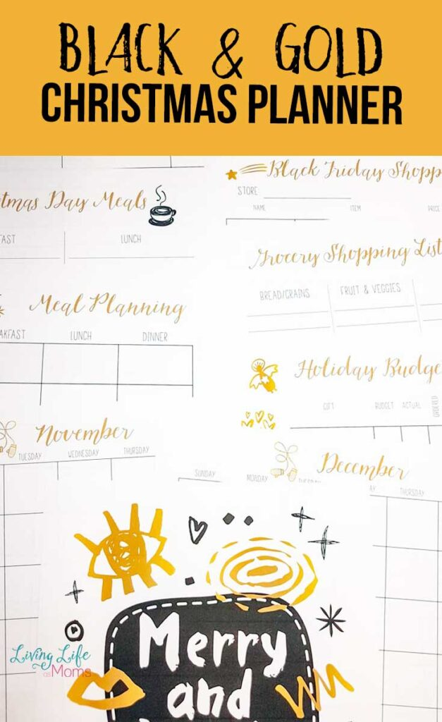 Black and Gold Printable Christmas Planner