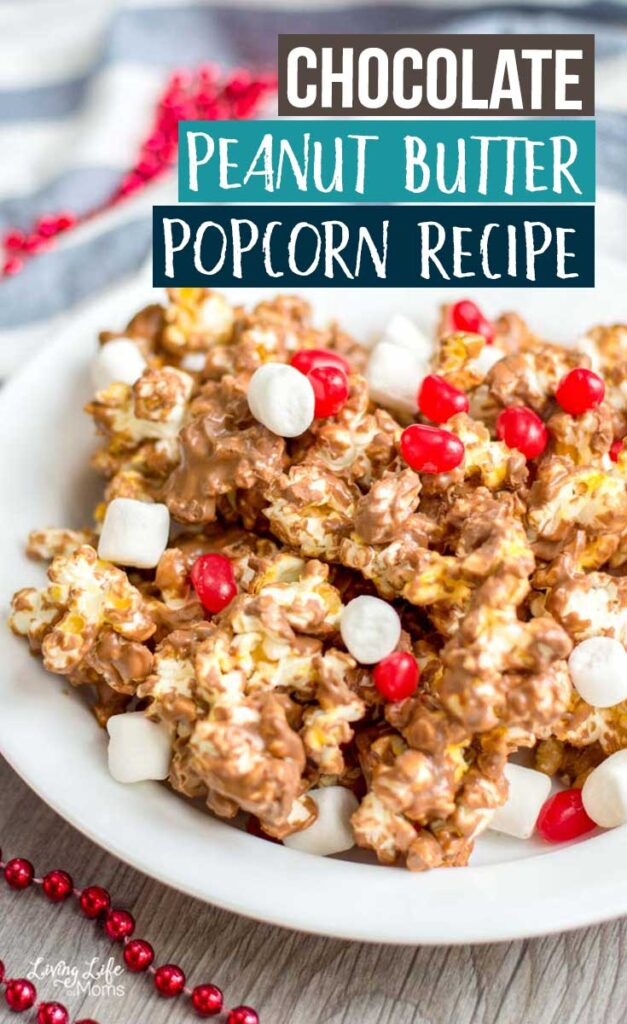 Just wait until you try this Chocolate Peanut Butter Popcorn recipe! Every single bite is so good, you're going to be wanting more. Easy, delicious, and such a fun snack. #popcorn #simplesnack #peanutbutterpopcorn #chocolatepopcorn