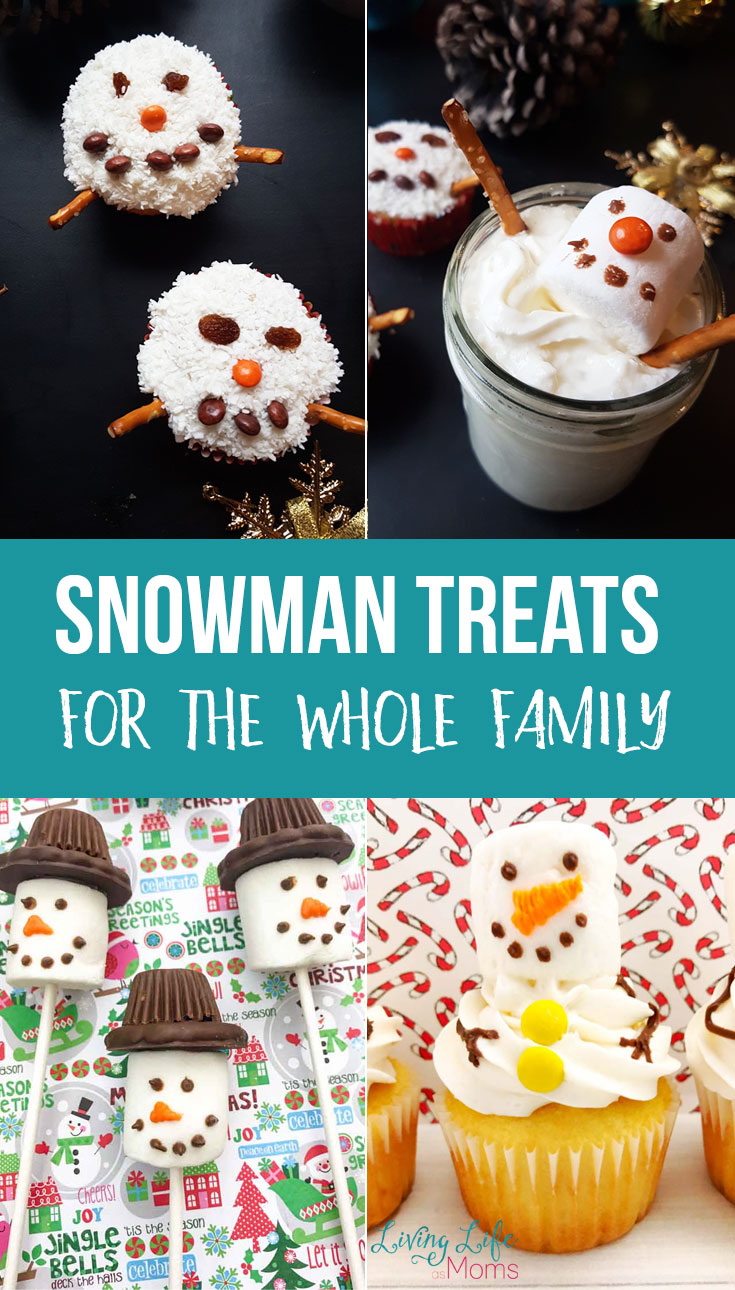 Cute snowman treats for the family including marshmallow pops, cupcakes and snowman hot chocolate.