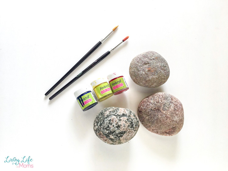 Angry birds painted rocks supplies with brushes, paints and rocks