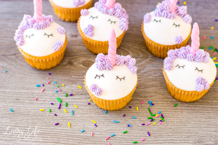 Pretty completed cupcakes, with sprinkles. Follow the steps to make fondant unicorn cupcakes.