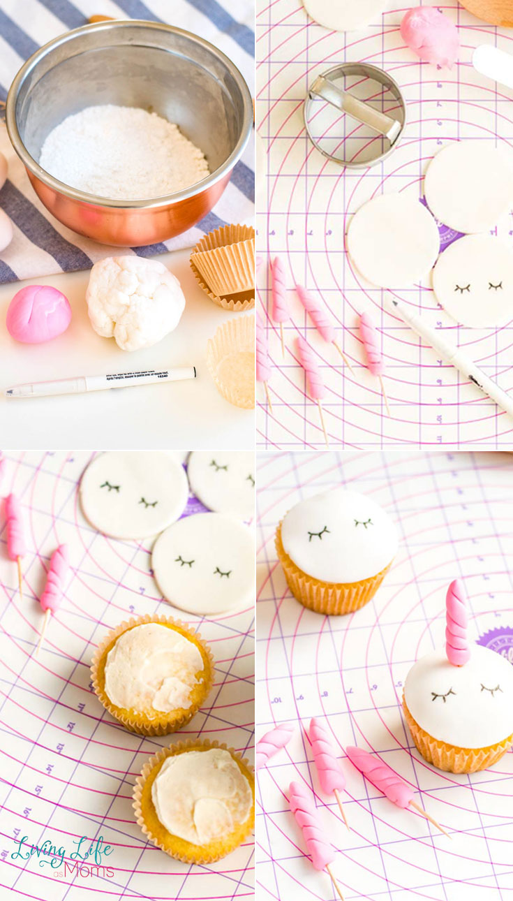 The step by step instructions to make fondant unicorn cupcakes. Roll out the fondant, cut it out, draw on the eyes, then put it on the cupcakes.