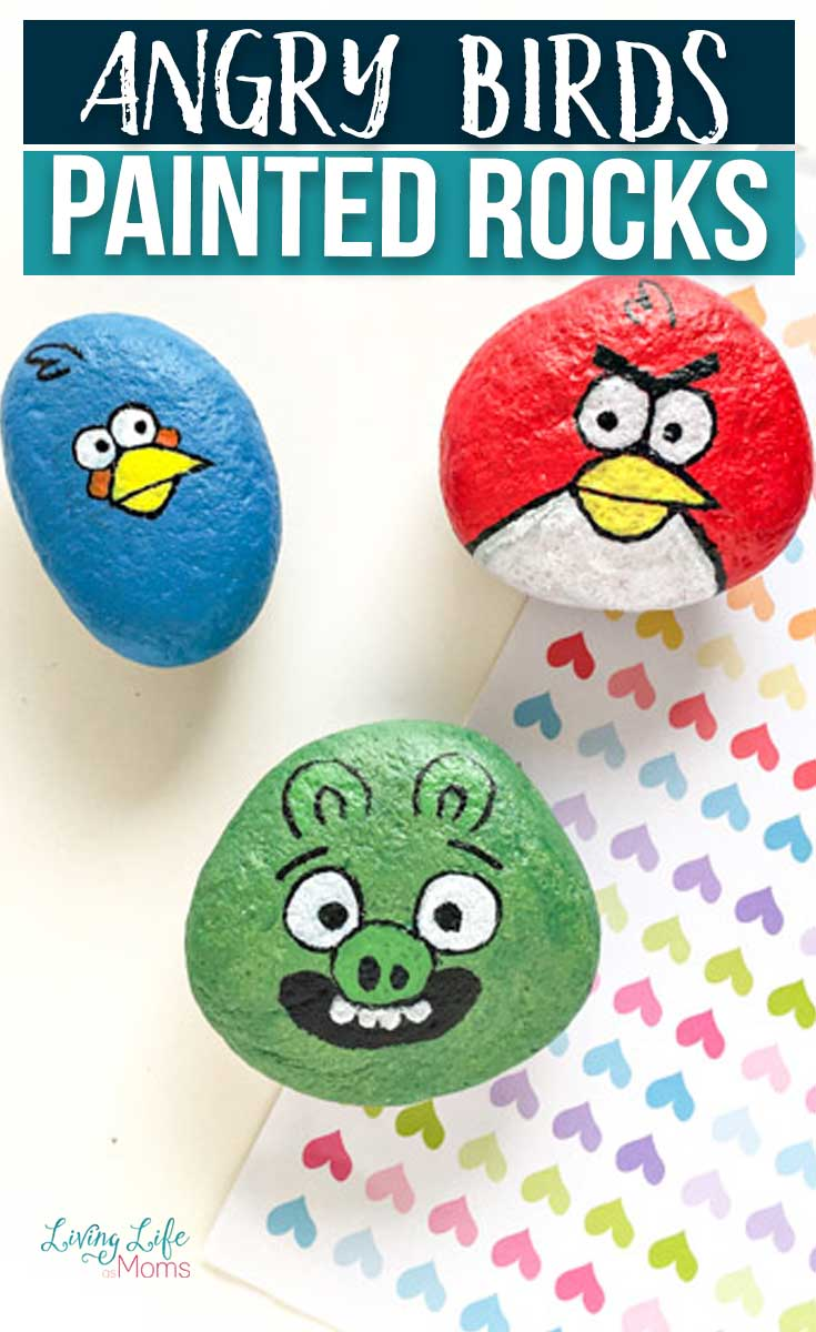 Terrance, Green Pig, and the blue Angry Bird painted rocks pin
