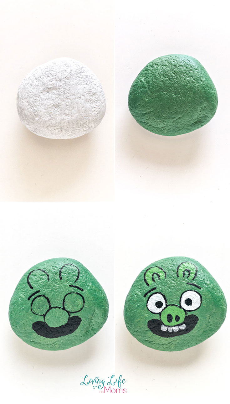 How to paint angry birds painted rocks green pig