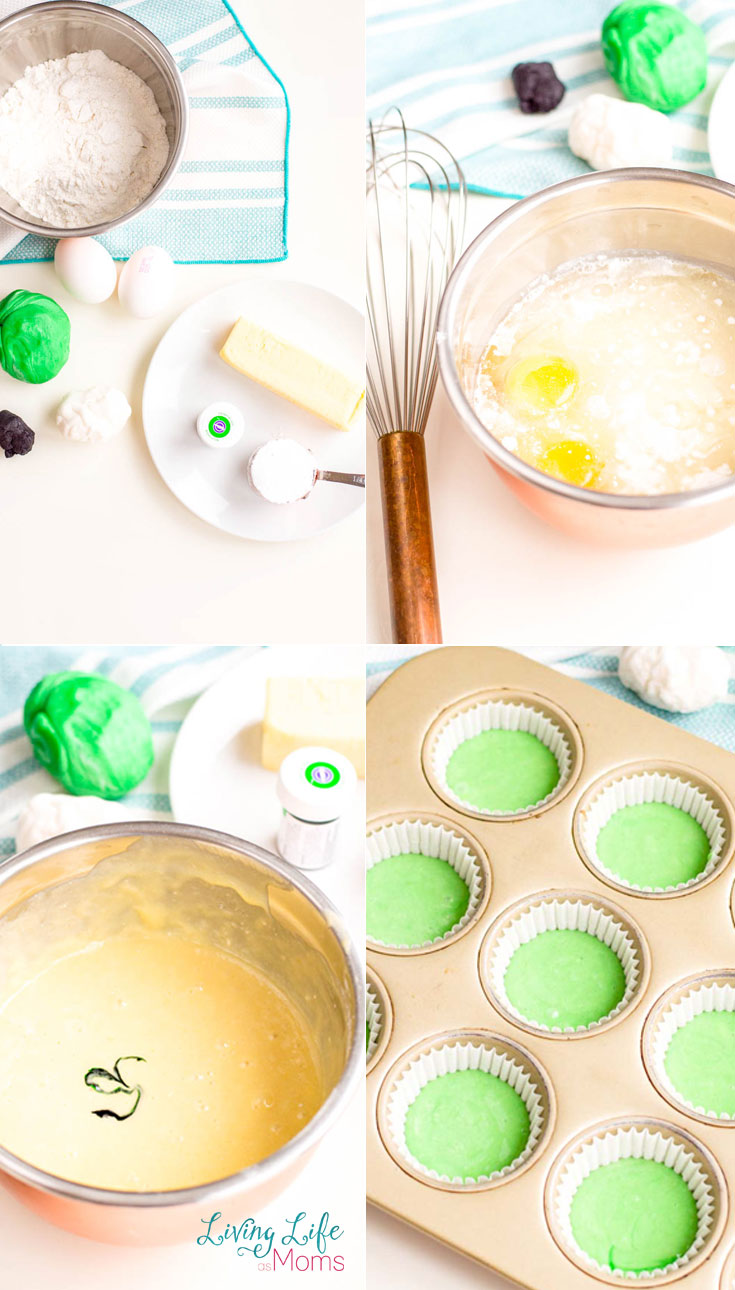 Use green tinted cupcake batter to make this wacky alien cupcakes recipe.
