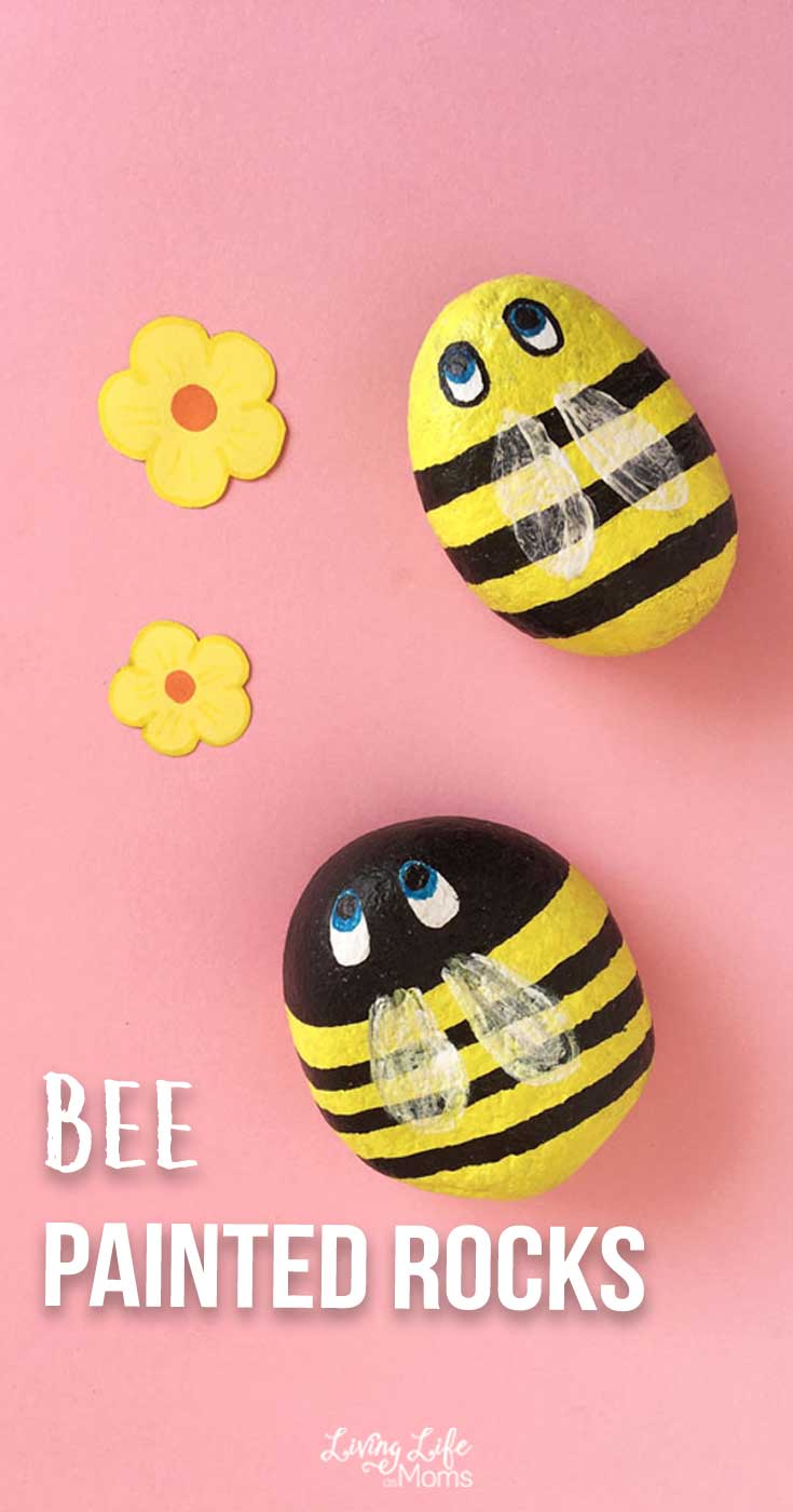 Buzzing bee painted rocks with yellow flowers