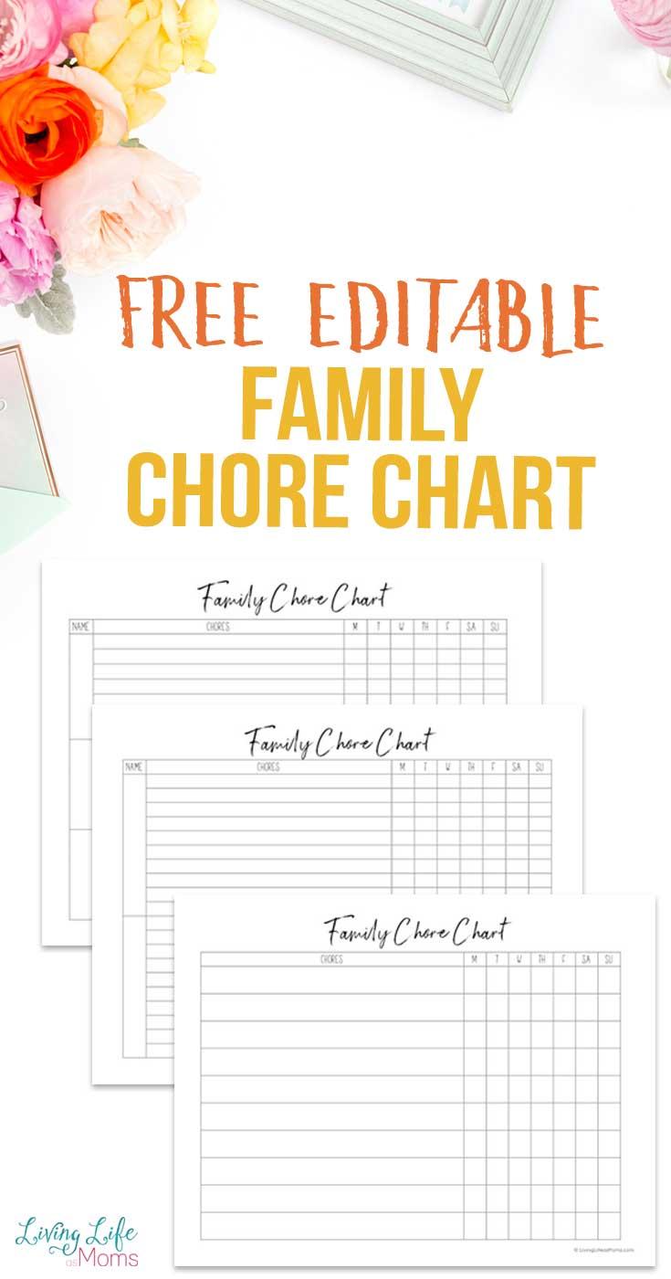 Editable family chore chart