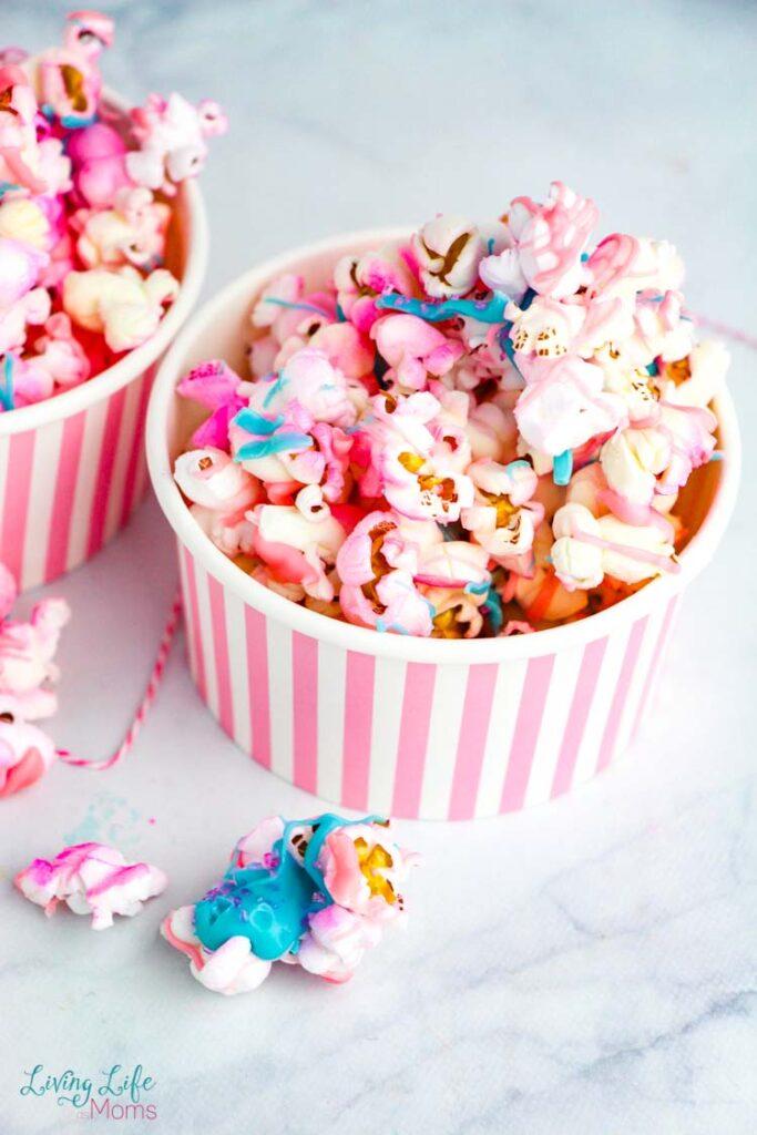 Unicorn Popcorn Recipe in small cups