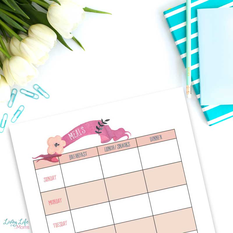 Meal Planner Printable to plan out your meals for a week