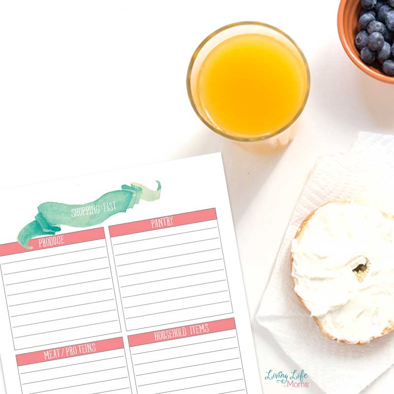 Shopping list printable to write your weekly shopping list
