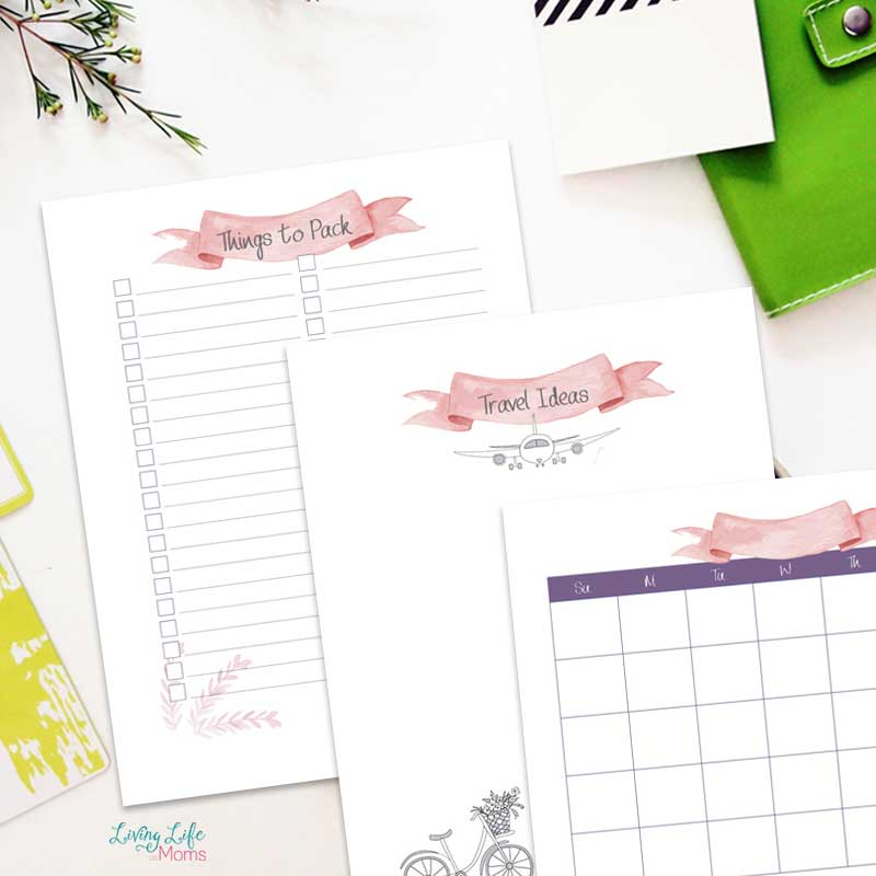 travel planner printables to make packing list and write down notes