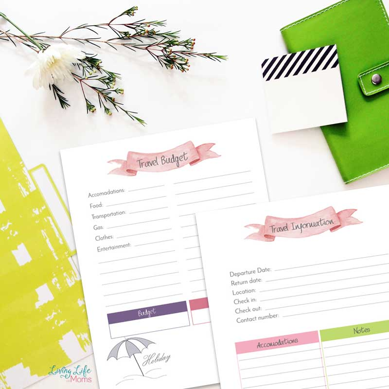 Travel planner printables to write travel information