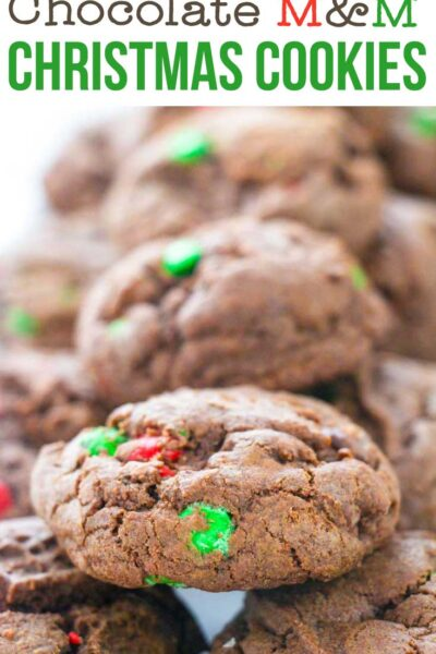 Double Chocolate M&M Christmas Cookies