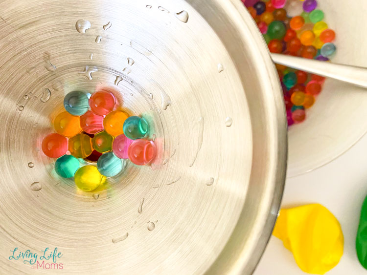Adding Orbeez in funnel to balloons