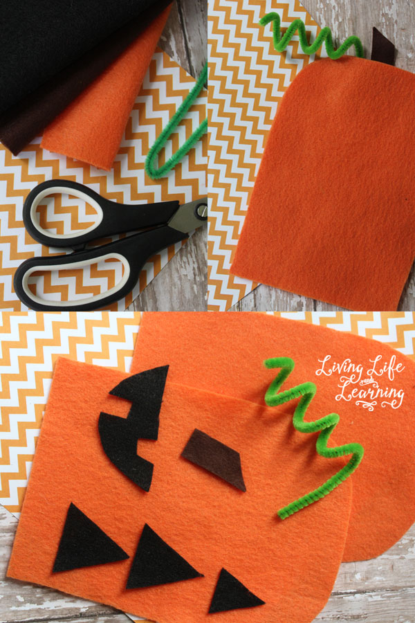 Felt pumpkin hand puppet craft supplies