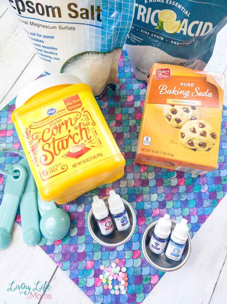 ingredients to make mermaid bath bomb