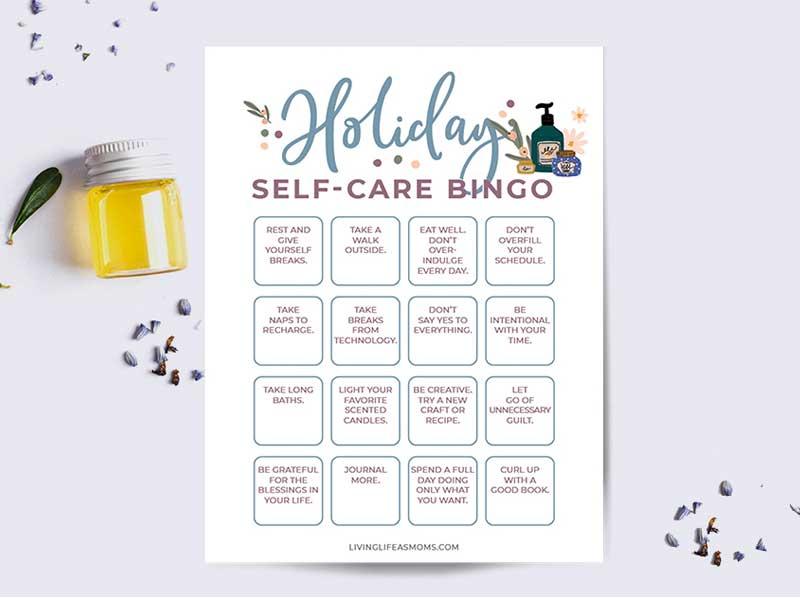holiday self care bingo