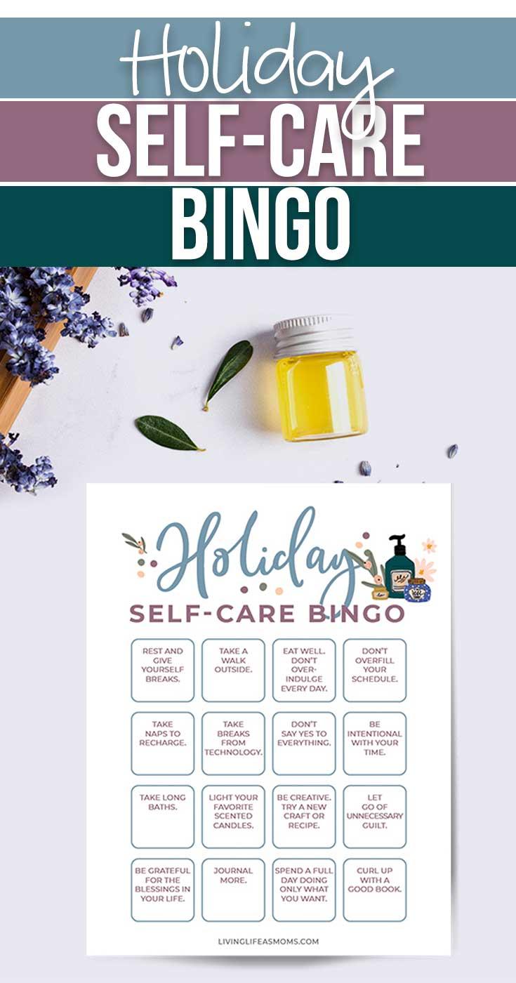 Printable holiday self care bingo