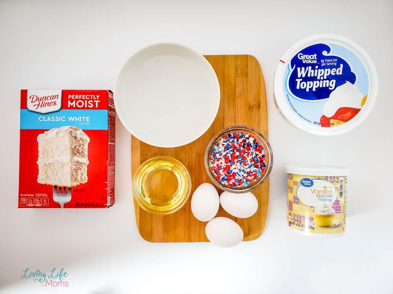 ingredients for patriotic cupcakes
